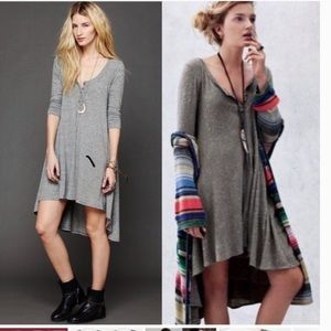 Drippy jersey knit high low dress
